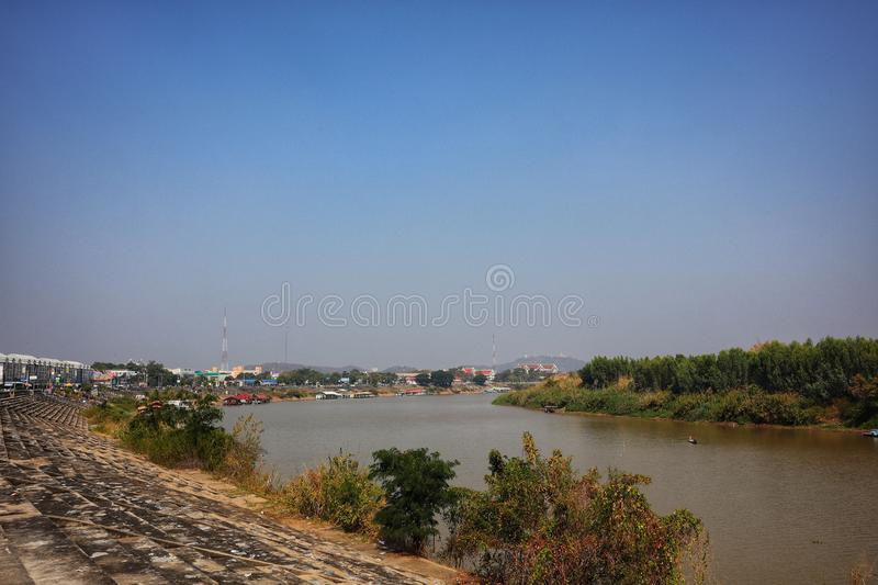 The beautiful landscape of the Chao Phraya River, Nakhon Sawan, Thailand in the morning stock photos