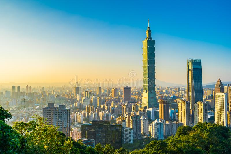 Beautiful landscape and cityscape of taipei 101 building and architecture in the city. Skyline with bluesky and white cloud at Taiwan royalty free stock photography