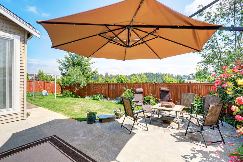 Beautiful landscape design for backyard garden and patio area. On concrete floor. Northwest, USA stock images