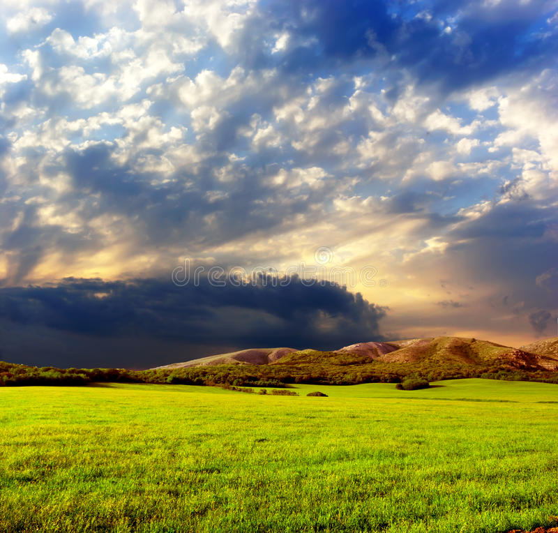 Beautiful landscape at dusk royalty free stock photo