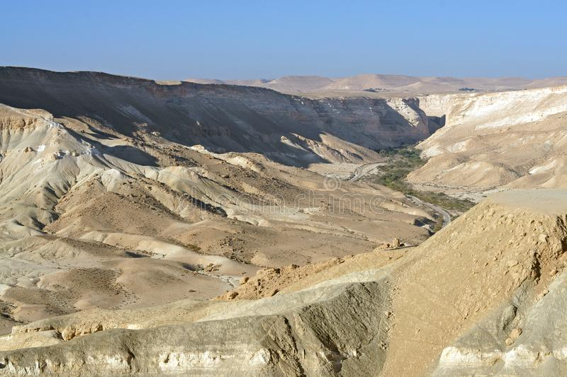 Beautiful landscape of Ein Avdat and Zin Valley. Negev, desert and semidesert region of southern Israel. Hot summer 2019 royalty free stock photography