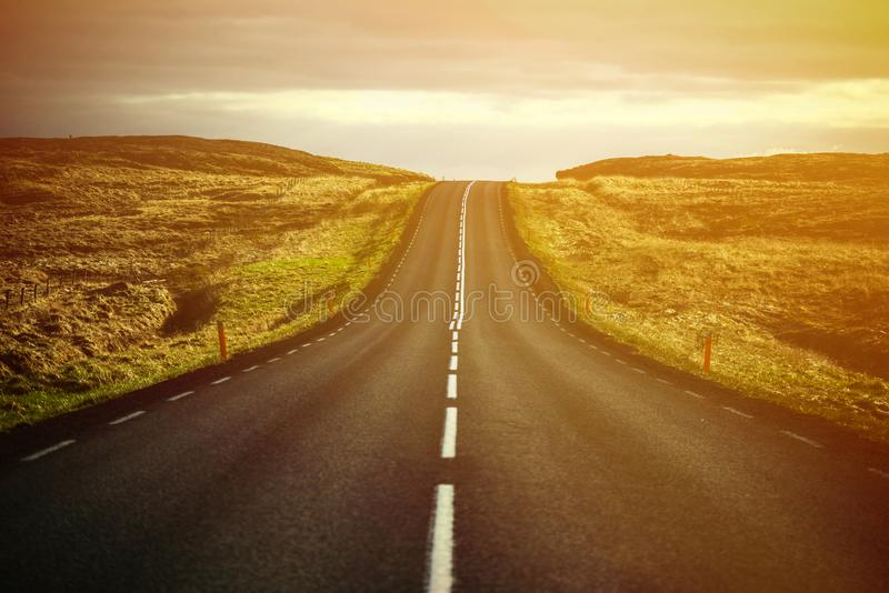 Beautiful landscape of empty highway road royalty free stock photos