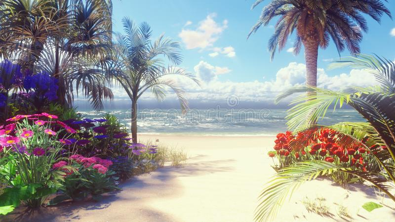 A beautiful landscape with a fabulous beach with beautiful flowers and trees growing on it, blue sky and white sand royalty free illustration