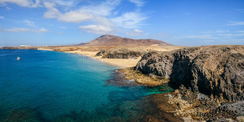 Beautiful landscape of famous Papagayo Beach on the Lanzarote Is royalty free stock image
