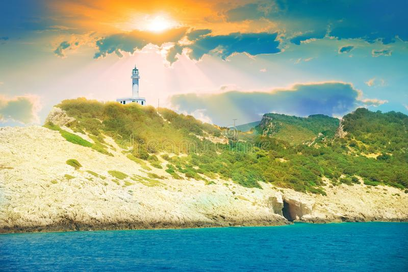 Beautiful Temple of Appolo at sunrise in Lefkada island, Greece royalty free stock photography