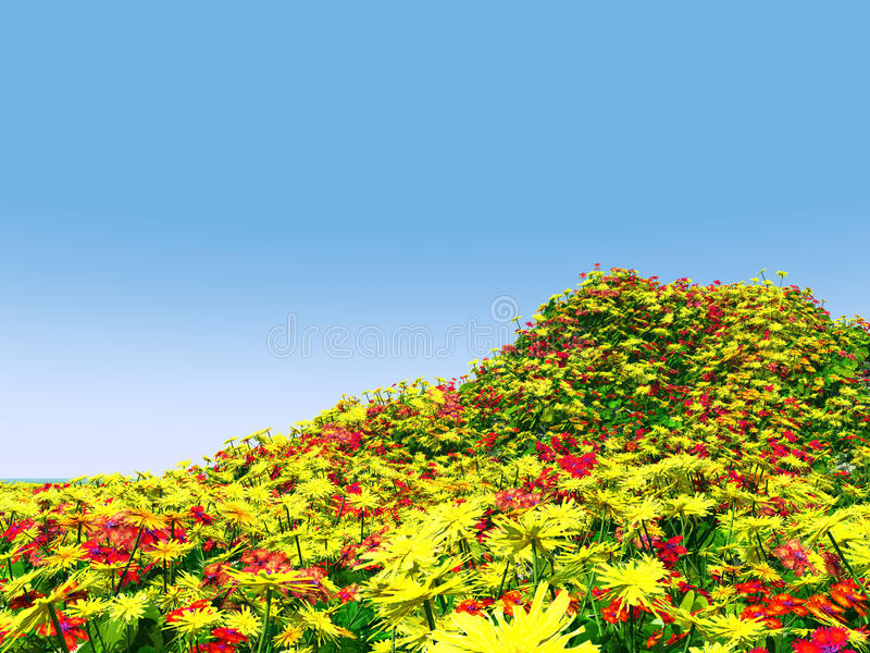 Beautiful Landscape With Flowers Royalty Free Stock Image