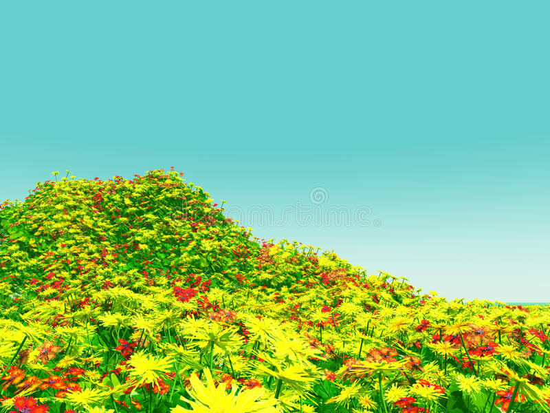 Download Beautiful Landscape With Flowers Stock Illustration - Illustration of spring, flora: 12447682