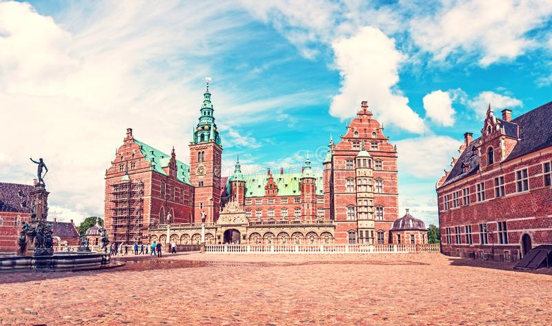 Beautiful landscape with fountain in Frederiksborg slot Castle near Copenhagen. Hillerod, Denmark. Exotic amazing places. Popular. Tourist atraction royalty free stock images