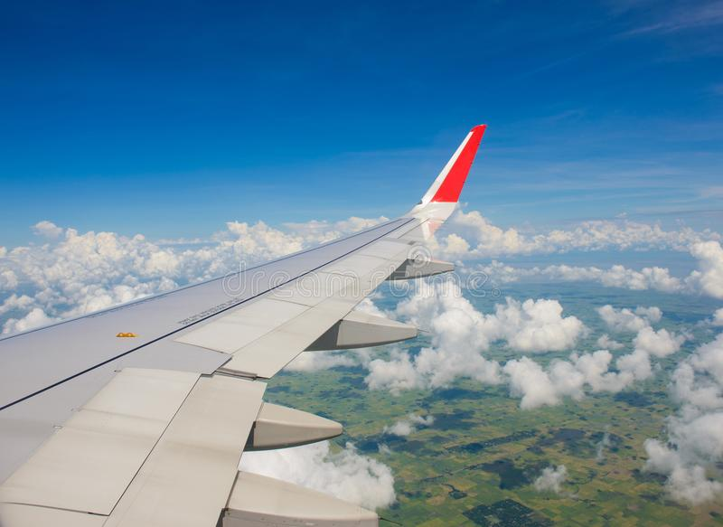 Beautiful landscape green field views from an airplane stock photography