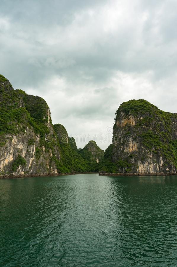 Beautiful landscape of Halong Bay islands covered with green plants royalty free stock image