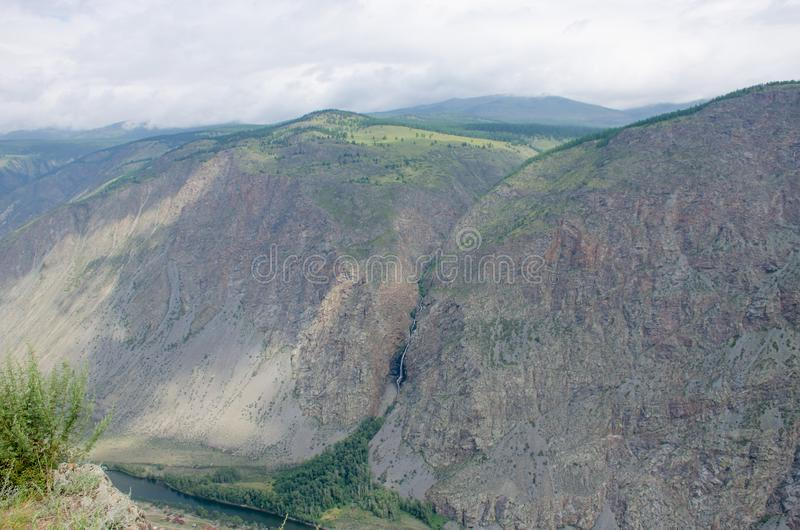 Beautiful landscape high stone mountains Altai Russia stock photography