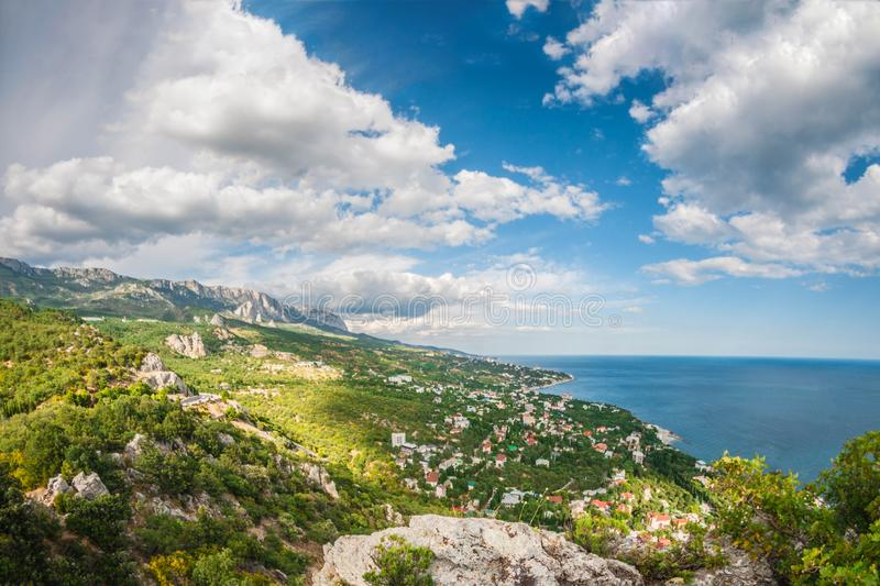Beautiful landscape high view from rocks to coast Crimea royalty free stock images