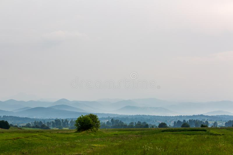 Beautiful landscape with hills royalty free stock photo