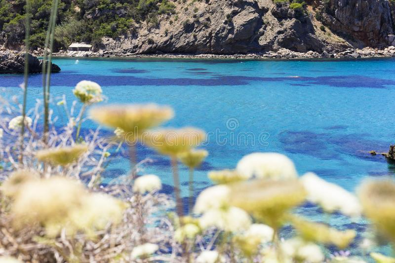 Beautiful landscape in Ibiza of blue ocean in a sunny day. Summer and holidays concept. Isle, water, scenic, spanish, sea, sky, spring, horizon, stone royalty free stock photography