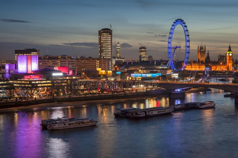 Download Beautiful Landscape Image Of The London Skyline At Night Looking Editorial Photo - Image of britain, attraction: 111765056