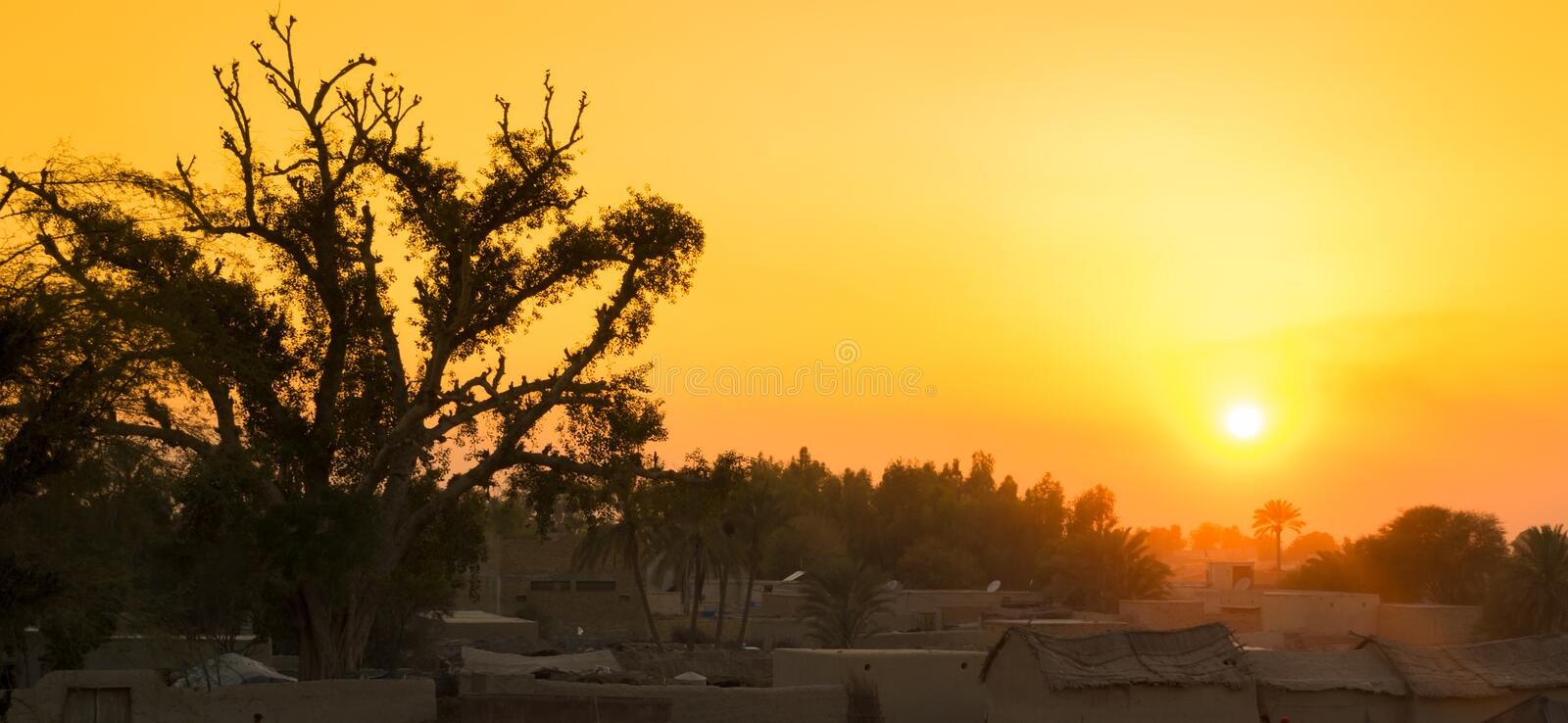 Beautiful landscape image of sunset over a village royalty free stock photography