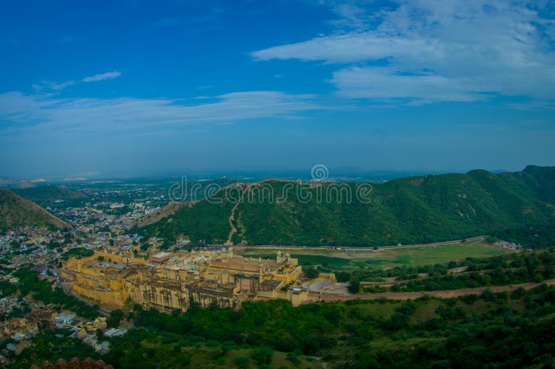 Beautiful landscape of India Jaipur Amber fort in Rajasthan. Ancient indian palace architecture panoramic view.  stock images
