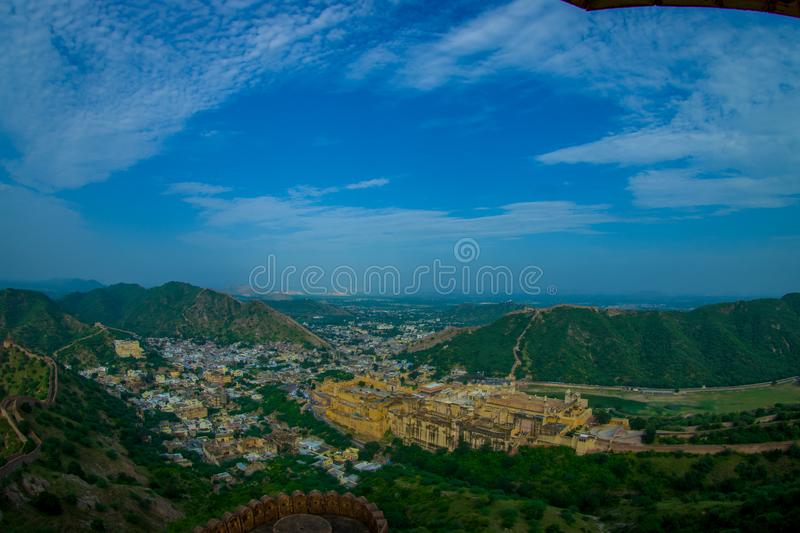Beautiful landscape of India Jaipur Amber fort in Rajasthan. Ancient indian palace architecture panoramic view.  royalty free stock photo