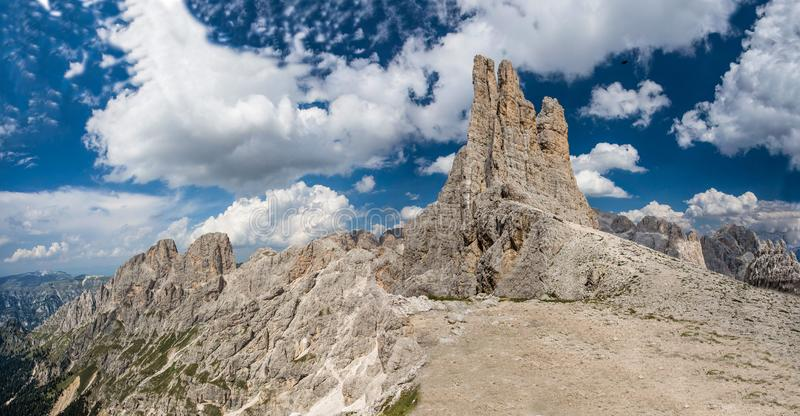 Torri del Vajolet, Vajolet towers, Catinaggio Group, Dolomites Alps, Italy. Beautiful landscape Italy beauty, Dolomites under a cloudy blue sky/ Dolomiti royalty free stock photography