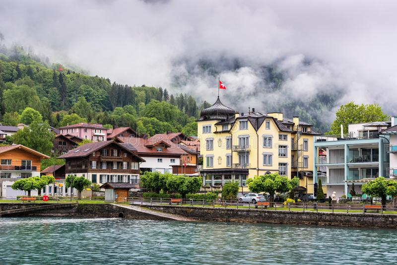 Beautiful Landscape of Lake Brienz and City Old Town Interlaken, Switzerland., Cityscape Scenery and Architecture Building of Swis royalty free stock photos