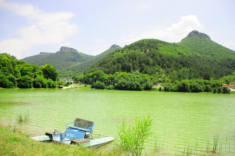 Beautiful landscape with lake and mountains stock photography