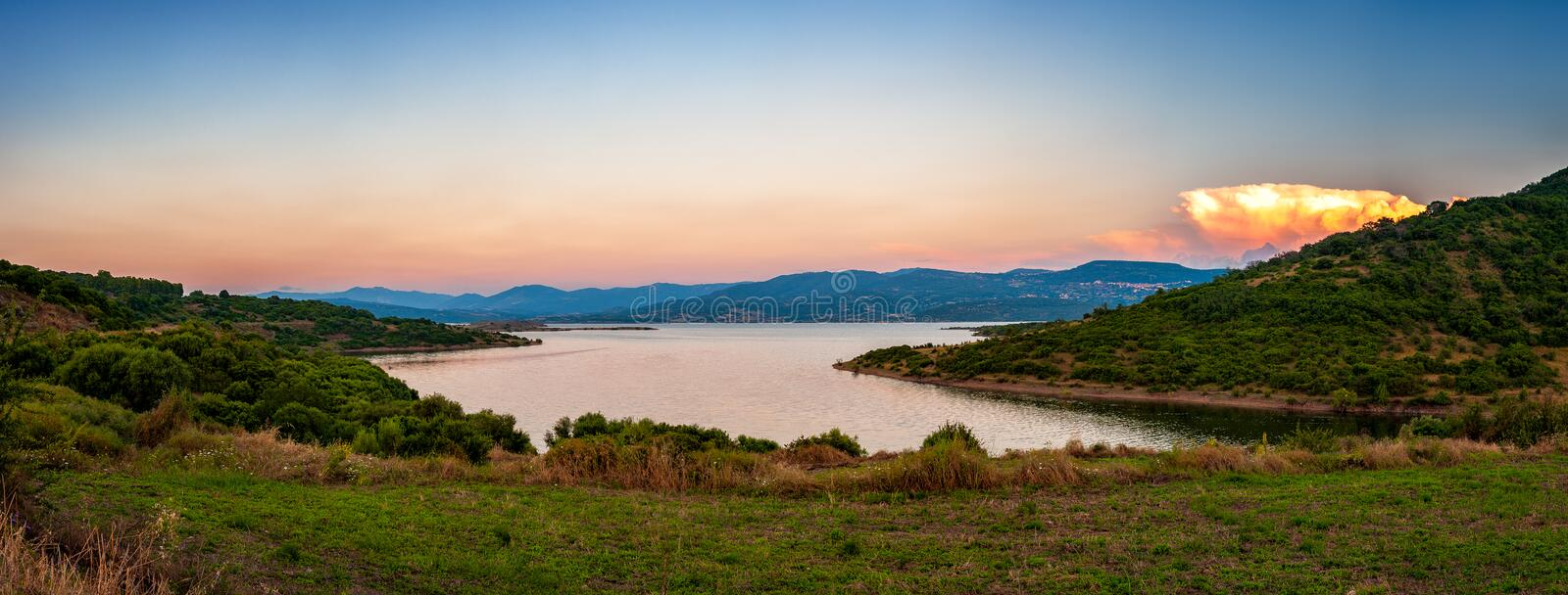 Overview of Lake Omodeo at sunset, Sardinia stock images