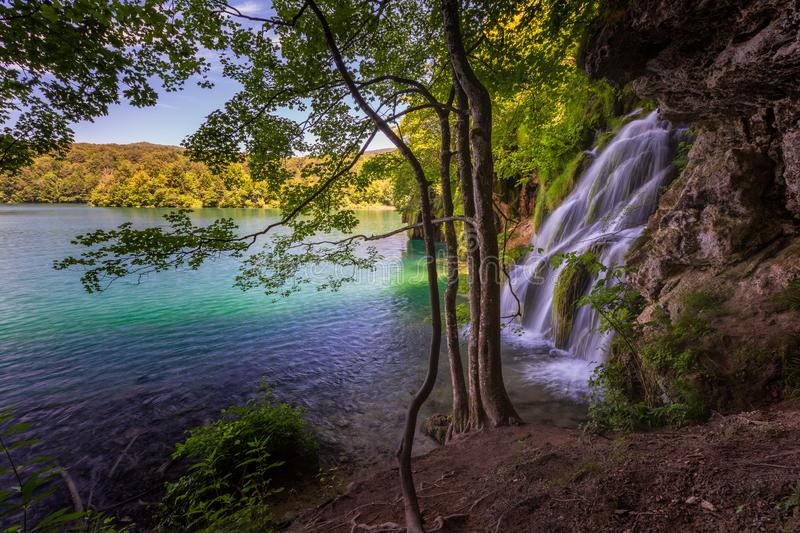 Landscape with lake and waterfall in Plitvice Lakes National Park, Croatia stock image