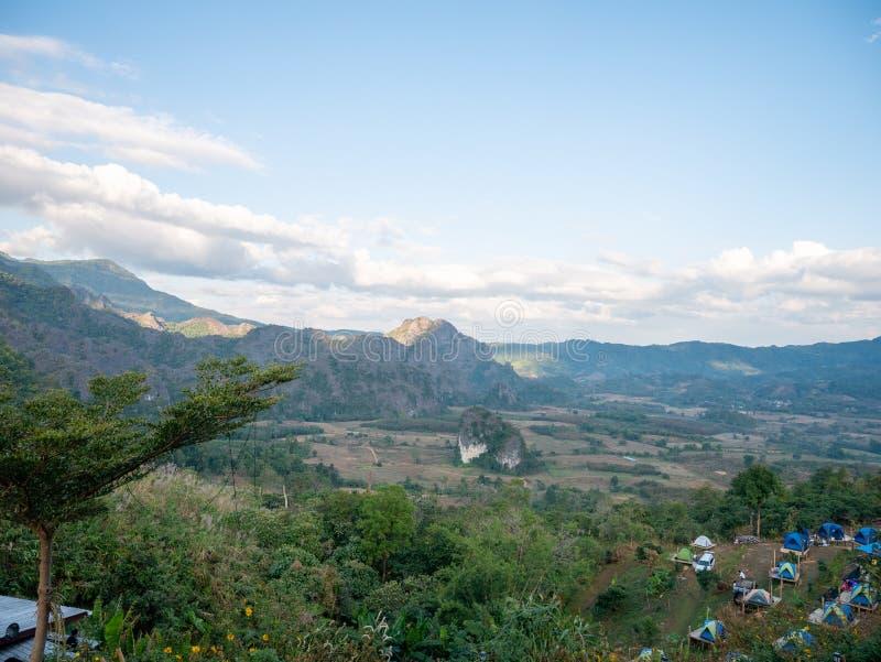 Beautiful Landscape landmark famous Mountain View of Phu Langka National Park,Phayao,Thailand.Holiday travel rainy and winter. Season stock image
