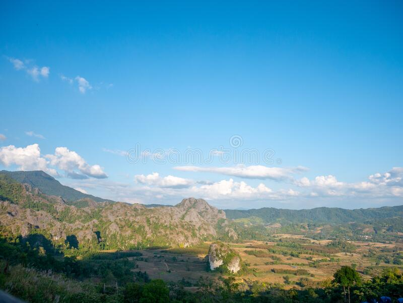 Beautiful Landscape landmark famous Mountain View of Phu Langka National Park,Phayao,Thailand.Holiday travel rainy and winter. Season royalty free stock photography