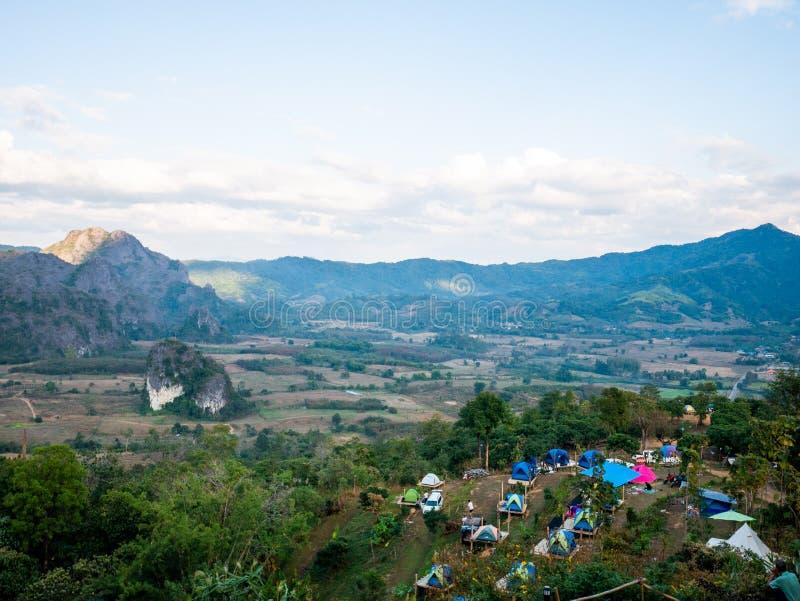 Beautiful Landscape landmark famous Mountain View of Phu Langka National Park,Phayao,Thailand.Holiday travel rainy and winter. Season royalty free stock image