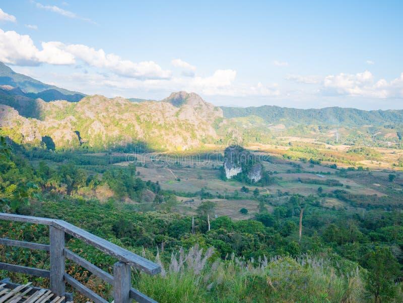 Beautiful Landscape landmark famous Mountain View of Phu Langka National Park,Phayao,Thailand.Holiday travel rainy and winter. Season royalty free stock images