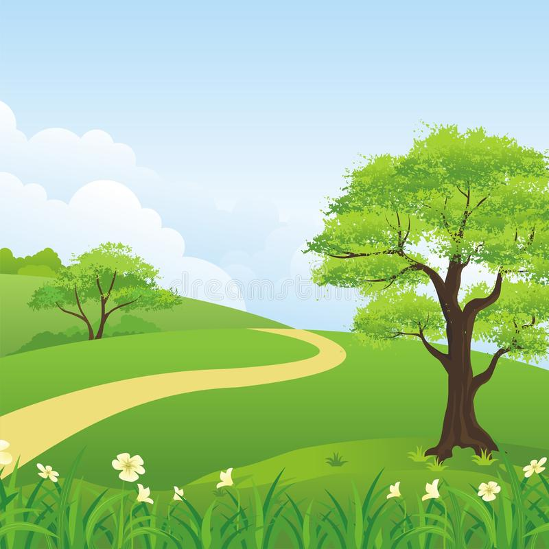 Beautiful landscape, Lovely and cute scenery cartoon design. Suitable for wallpaper, background, kid book, game background and other stock illustration