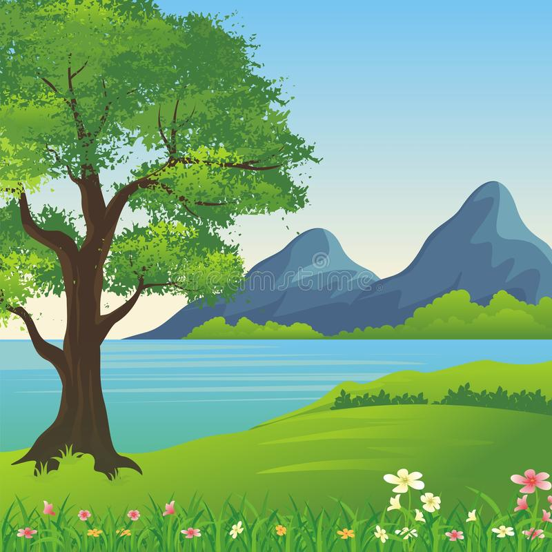 Beautiful landscape, Lovely and cute scenery cartoon design. Suitable for wallpaper, background, kid book, game background and other vector illustration