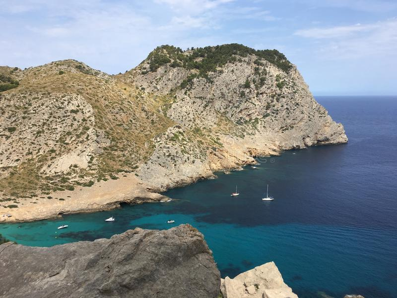 Beautiful landscape in Mallorca. With view over the blue sea royalty free stock images