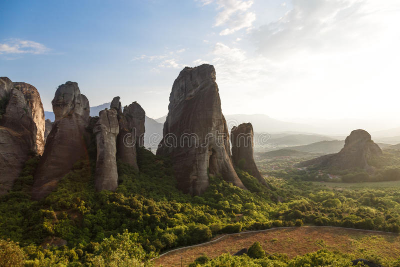 Beautiful landscape of Meteora rocks at sunrise, Greece stock photos