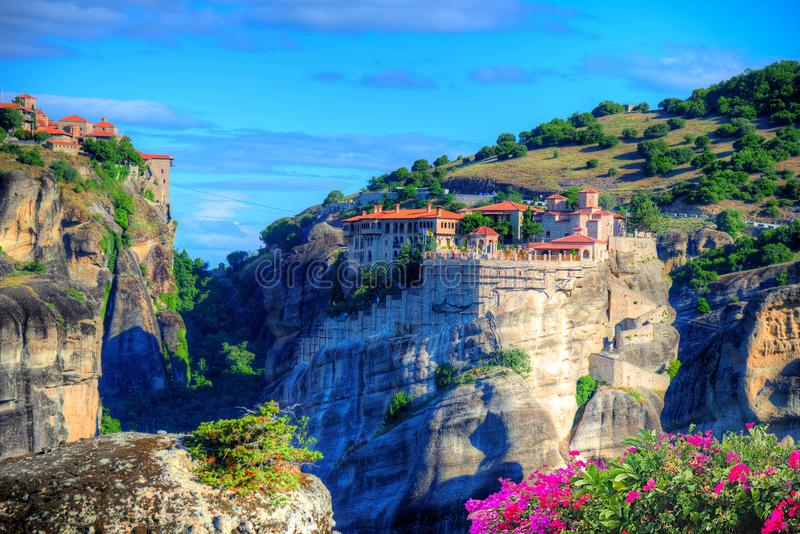 Meteora monastery in summer holiday, Greece royalty free stock images