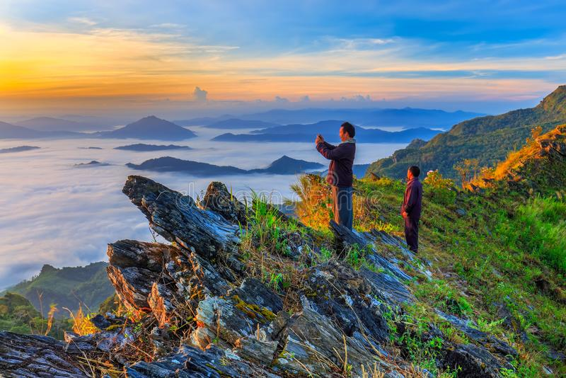 Beautiful Landscape and the Mist in the Morning in Thailand stock photos