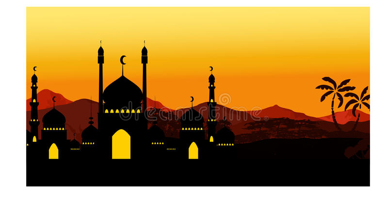 Beautiful landscape mosque with background royalty free illustration
