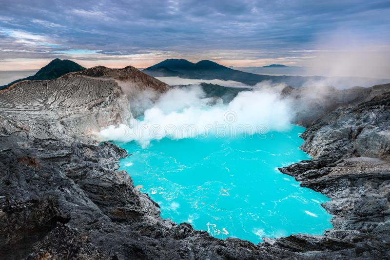 Beautiful Landscape mountain and green lake in the morning at Kawah Ijen volcano , East Java, Indonesia stock image