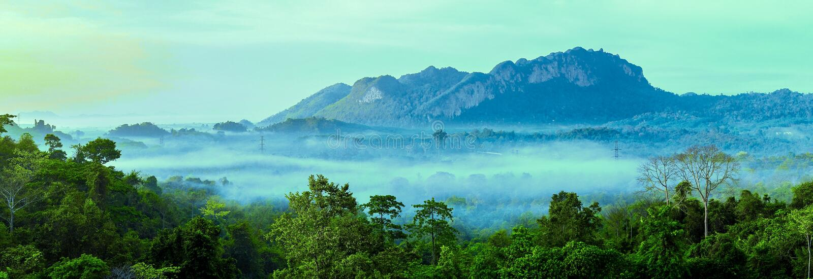 Beautiful Landscape of mountain layer in morning sun ray and winter fog at Doi Hua Mae Kham, Mae Salong Nai, Chiangrai, Thailand. Nature, background, forest royalty free stock photo