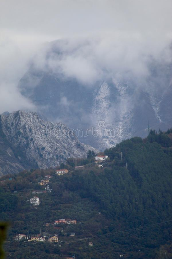 The misty mountains in the morning. stock image