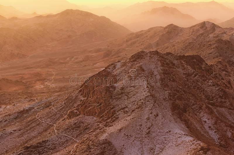 Beautiful landscape in the mountains at sunrise. Amazing view from Mount Sinai Mount Horeb, Gabal Musa, Moses Mount. stock photography