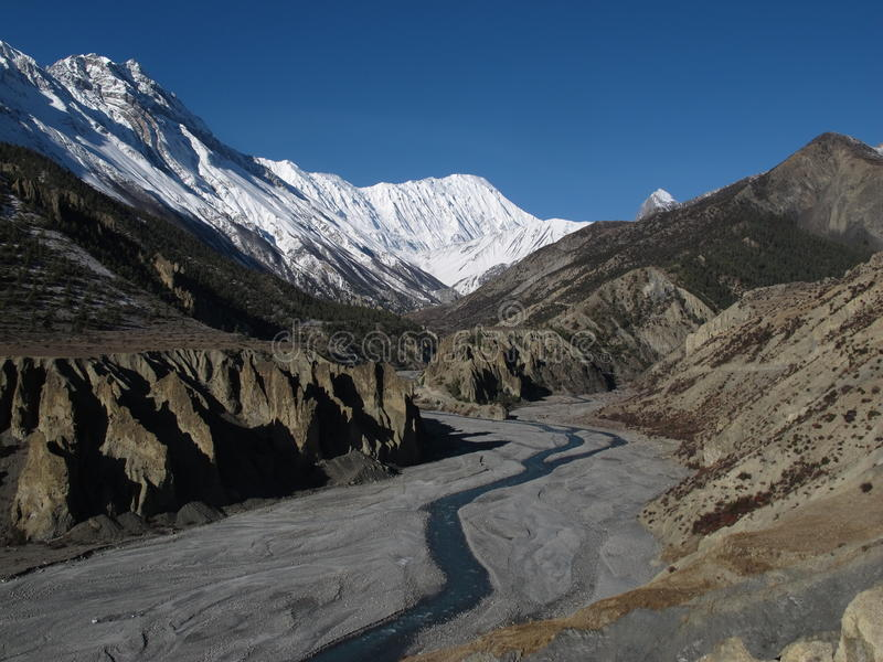 Beautiful landscape near Manang, Nepal stock photos