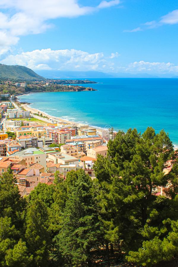 Beautiful landscape near Sicilian Cefalu, Italy. The amazing city located on the Tyrrhenian coast is a popular holiday destination. Taken from a view point stock image