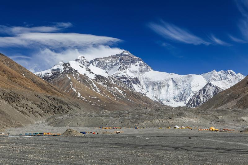 Beautiful Landscape of the north face of Everest base camp,Tibet,China. Beautiful Landscape of the north face of Everest base camp with colorful tents of royalty free stock image