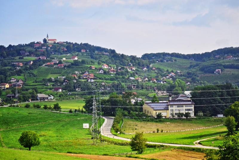 Beautiful landscape Novo Mesto district Slovenia Europe. Sevno village and Trška Gora at the hilltop seen from A2 motorway-Dolenjska avtocesta -E70 European royalty free stock photography