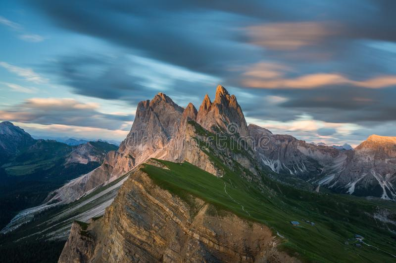 Beautiful landscape of Odle Mountains in Dolomites, Italy from Seceda at sunset royalty free stock photo