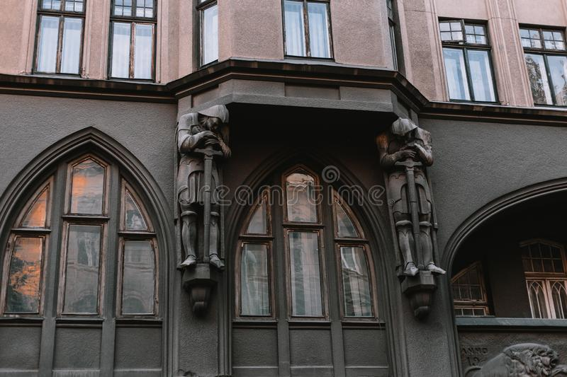 Beautiful scenery of the old city: streets, roofs, sights, doors. Beautiful landscape of the old city of Lviv: streets, roofs, sights, doors royalty free stock photography