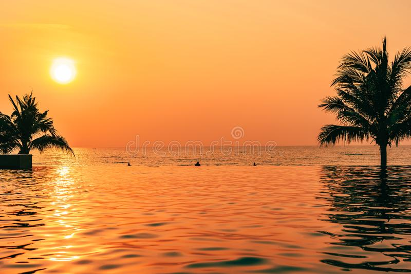 Beautiful landscape outdoor with coconut palm tree around swimming pool in hotel and resort at sunrise or sunset time. For leisure vacation and travel stock photos
