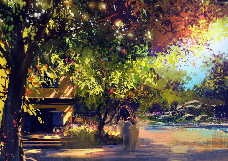 Beautiful landscape painting,outdoor vector illustration